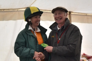 Liz receiving her rosette for 4th place